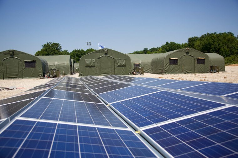 Image: NATO allies test the use of solar panels and energy-efficient and light-weight devices in disaster response operations