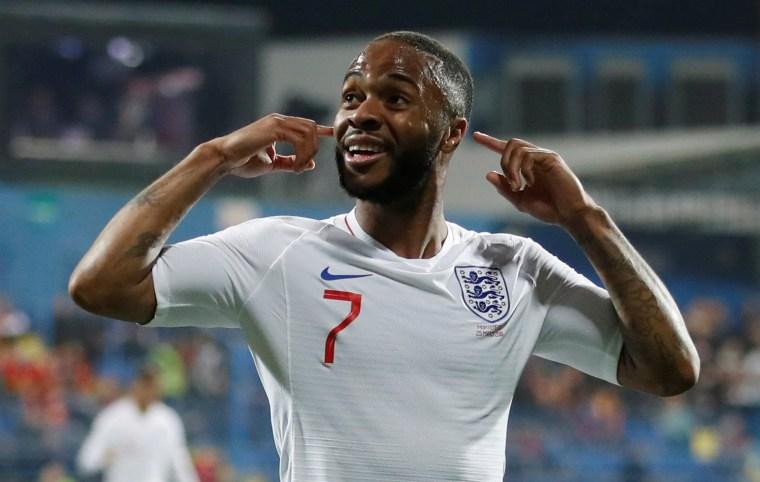 Image: England's Raheem Sterling celebrates scoring their fifth goal at Podgorica City Stadium, Podgorica, Montenegro