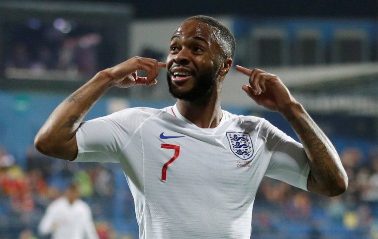 Image: England's Raheem Sterling celebrates scoring their fifth goal at Podgorica City Stadium, Podgorica, Montenegro