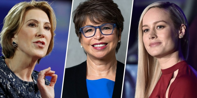 From left, Carly Fiorina, Valerie Jarrett and Brie Larson.