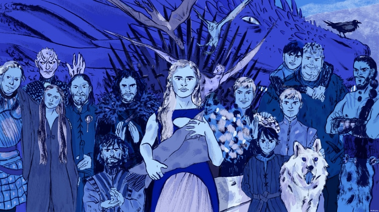 Illustration of Game of Thrones characters.