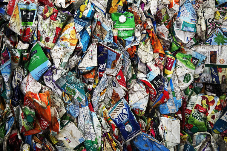 Image: Recycled cartons at the Sims Municipal Recycling Facility in Brooklyn, New York, on April 22, 2015.