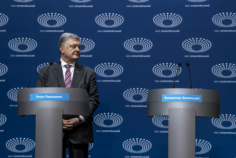 Image: Ukrainian President Petro Poroshenko holds a news conference at Olympiskiy Stadium in Kiev on April 14, 2019.