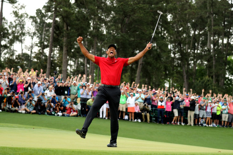 Image: Tiger Woods celebrates his win at the Masters tournament in Augusta, Georgia, on April 14, 2019.