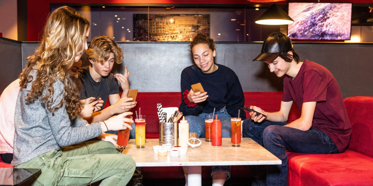 Teenage friends hanging out