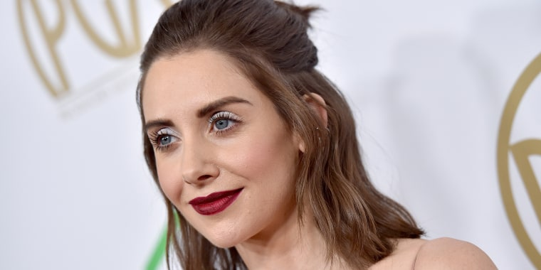 Alison Brie hair, red carpet, Dave Franco