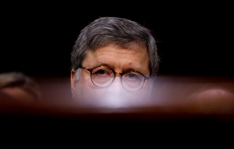 Image: William Barr testifies at his Attorney General confirmation hearing before the Senate Judiciary Committee in Washington on Jan. 15, 2019.
