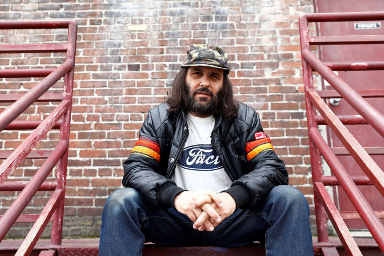 Image: Erik Brunetti, Los Angeles artist and streetwear designer of the clothing brand FUCT, sits for a portrait in Los Angeles