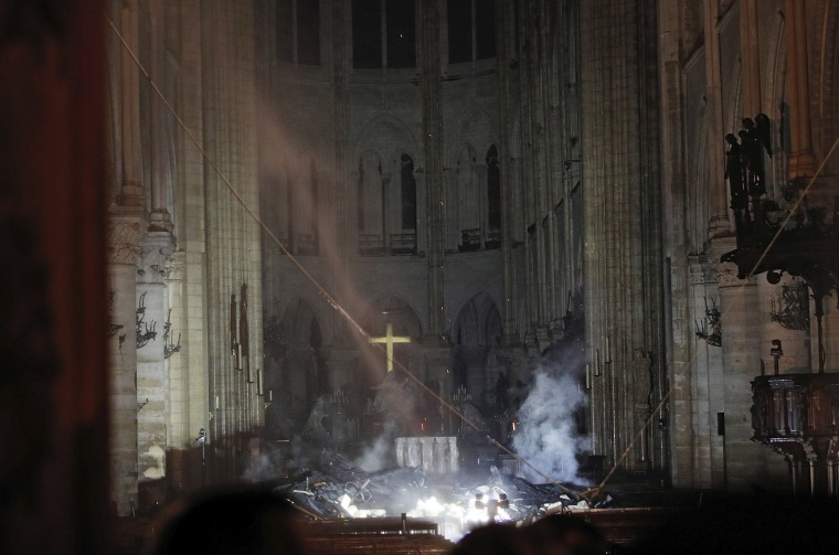 Image: Smoke inside Notre Dame Cathedral in Paris