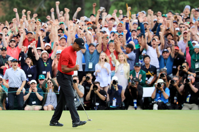 Image: Tiger Woods celebrates after winning the Masters at Augusta National Golf Club in Georgia on April 14, 2019.