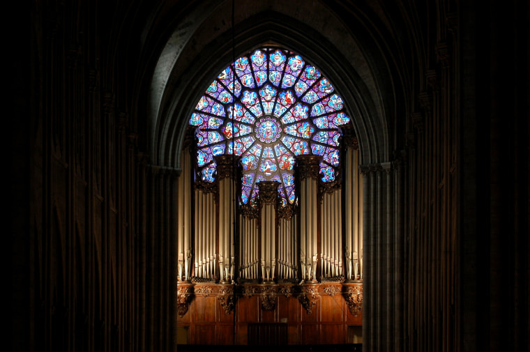 Image: The organ at Notre Dame in 2004. The famed organ dates back to the 18th century and has 8,000 pipes.
