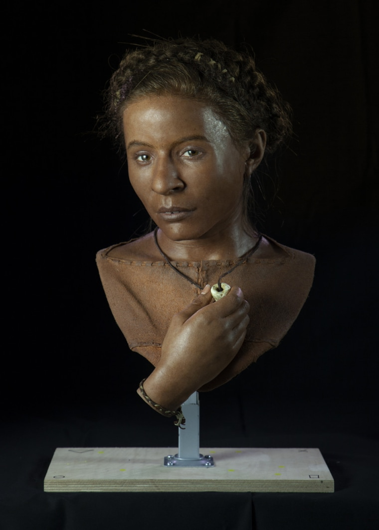 Image: A facial reconstruction of Whitehawk Woman, a 5,600-year-old Neolithic woman from Sussex.