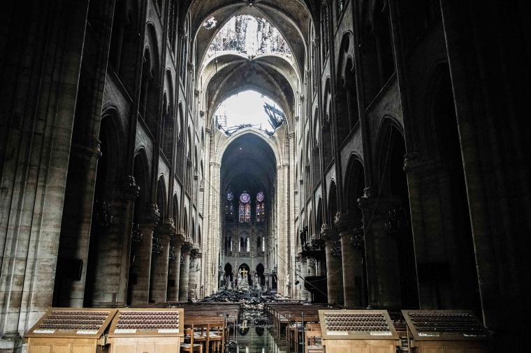 Notre Dame Cathedrals Stability Assessed After Fire Rips Through Monument