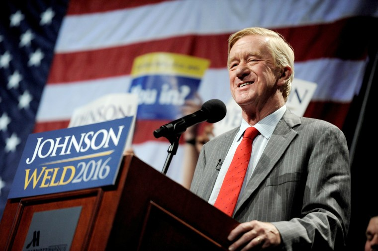 Image: Libertarian vice presidential candidate Bill Weld speaks at a rally in New York