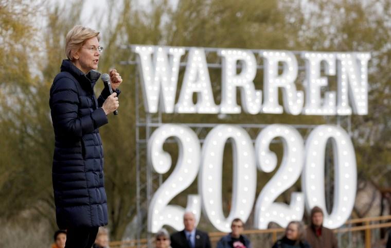 Democratic presidential candidate Sen. Elizabeth Warren, D-Mass., speaks at an organizing event in Las Vegas on Feb. 17, 2019.