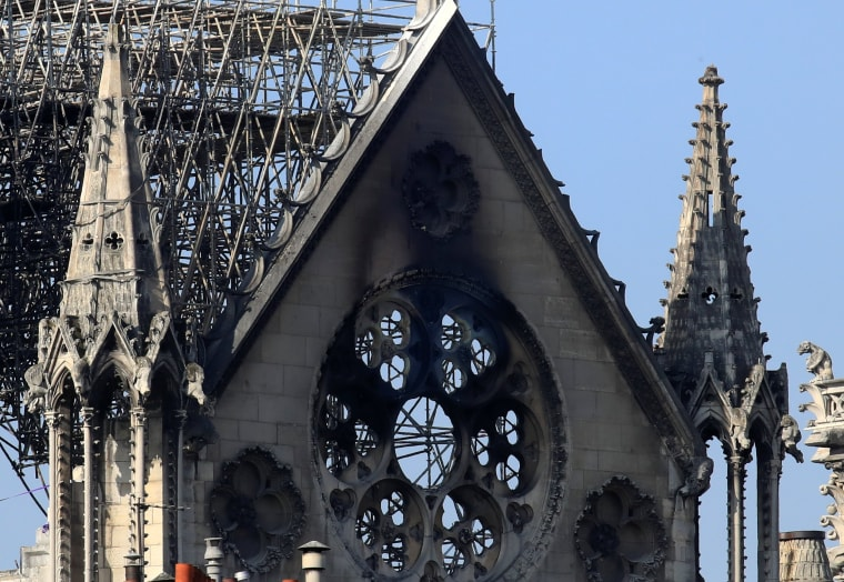 Image: A damaged section of Notre Dame Cathedral in Paris