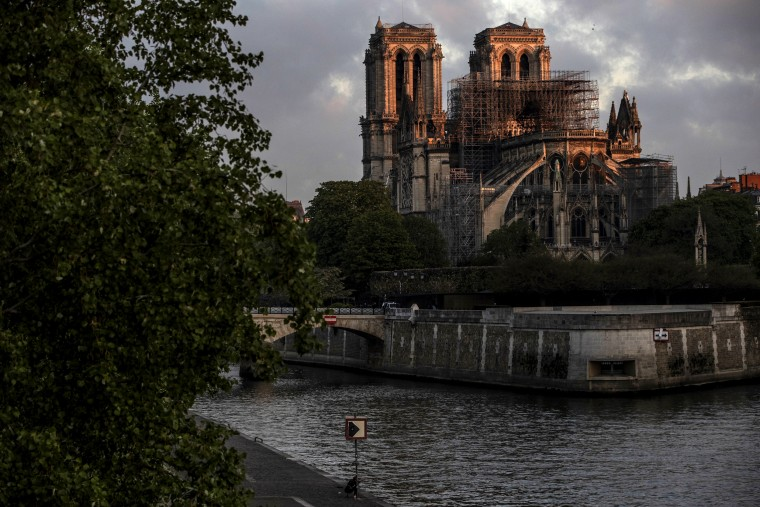 Image: Notre Dame at sunrise in Paris on April 17, 2019.