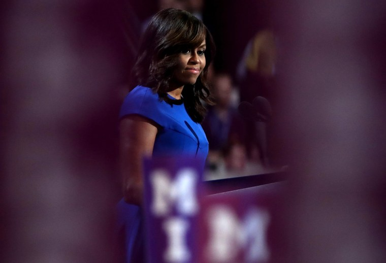 Image: Michelle Obama speaks at the Democratic National Convention in Philadelphia on July 25, 2016.