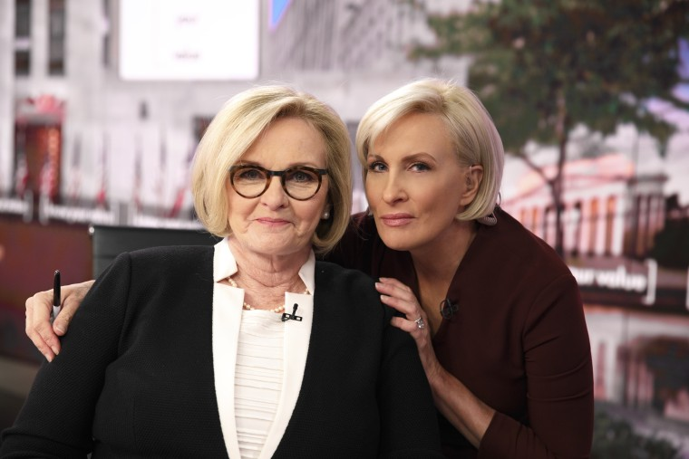 "Know Your Value founder Mika Brzezinski and former Sen. Claire McCaskill on the set of ""Morning Joe."""