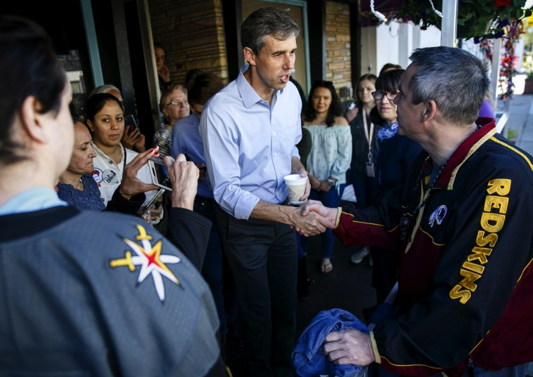 Image: Beto O'Rourke shakes hands during a campaign stop in Norfolk, Virginia, on April 16, 2019.
