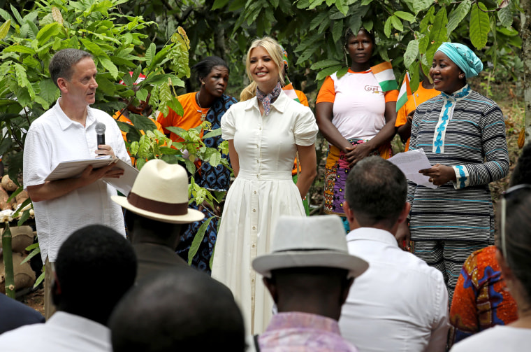 Image: White House adviser Ivanka Trump meets women entrepreneuers in Adzope, Ivory Coast, on April 17, 2019.