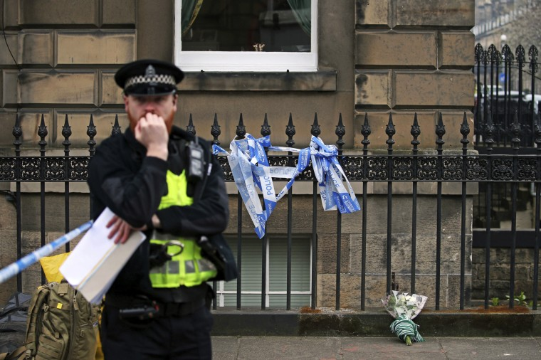Image: Flowers at the scene of a shooting where actor Bradley Welsh was killed in Edinburgh, Scotland, on April 18, 2019.