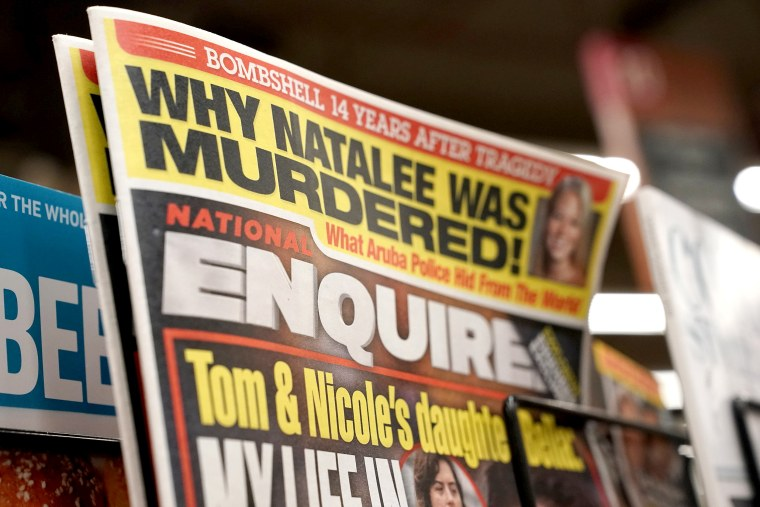 Image: U.S. tabloid newspaper the National Enquirer is on display for sale in Washington