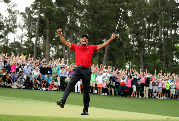 Image: Tiger woods celebrates after winning the 2019 Masters