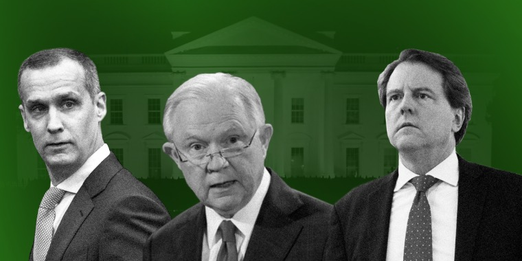 Photo illustration of Corey Lewandowski, Jeff Sessions, and Dan McGahn.