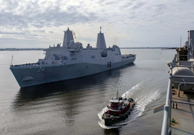 USS Arlington gets underway from Morehead City, North Carolina, on Dec. 19, 2018.