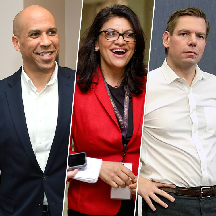 Cory Booker, Rashida Tlaib, and Eric Swalwell.