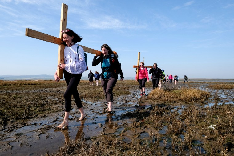Image: The Pilgrims Crossing To Holy Island On Good Friday