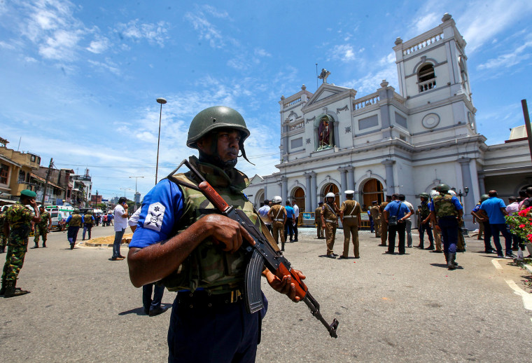 Image: Sri Lankan security forces secure the area near St. Anthony's Shrine after an explosion hit St. Anthony's Church in Colombo on April 21, 2019.