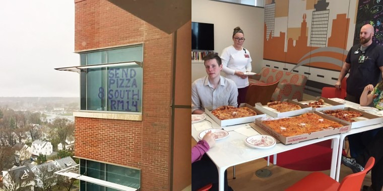 Hospitalized teen goes viral with creative window sign requesting pizza