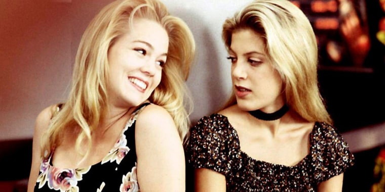 "Jennie Garth and Tori Spelling as Kelly and Donna on the original ""Beverly Hills, 90210"""