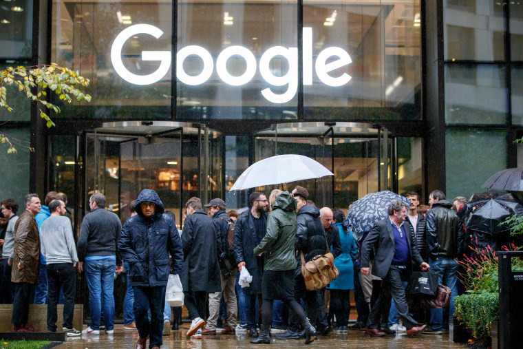 Google staff stage a walkout at the company's U.K. headquarters in London