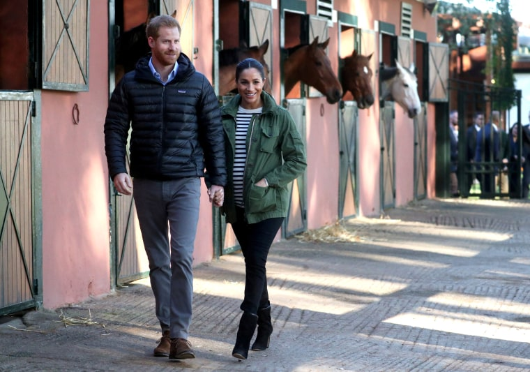 Image: Britain's Prince Harry and Meghan, Duchess of Sussex, visit the Moroccan Royal Federation of Equitation Sports in Rabat on Feb. 25, 2019.