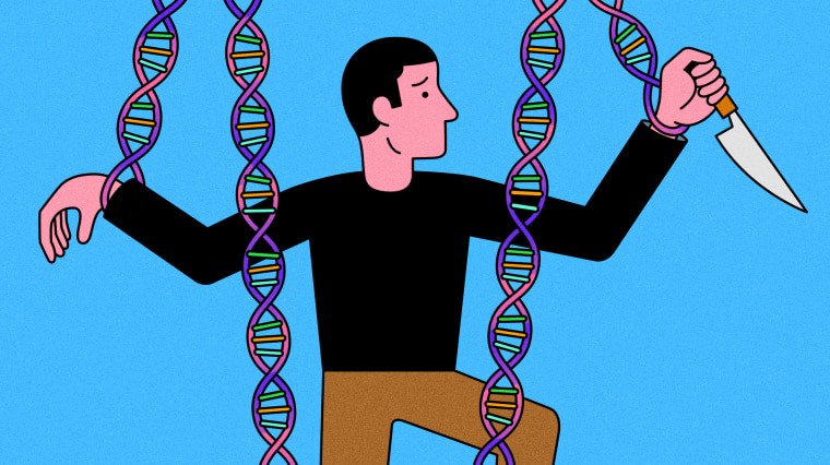 Illustration of man holding knife while being controlled by DNA puppet strings.