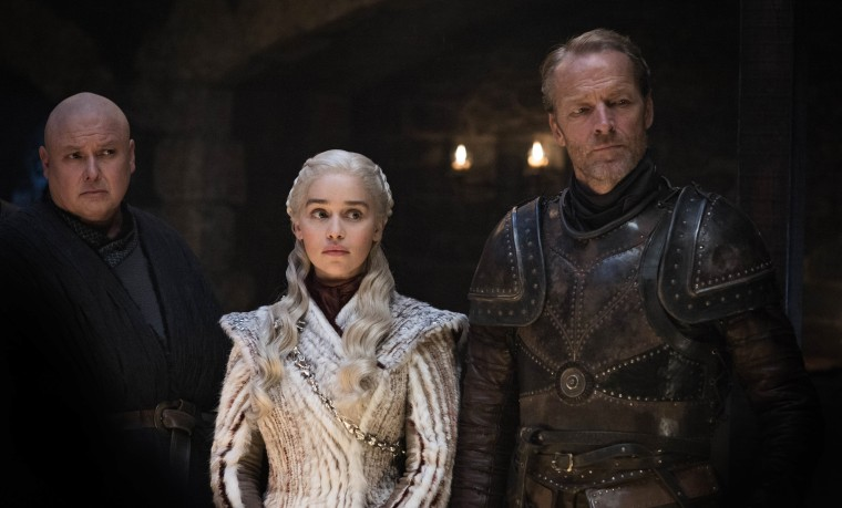 "Conleth Hill, Emilia Clarke, Iain Glen in Season 8, episode 2 of ""Game of Thrones."""