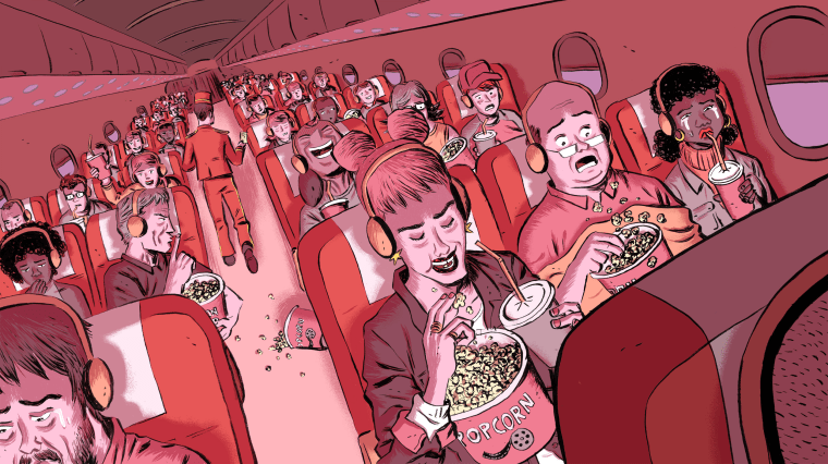 Illustration of airplane passengers eating popcorn and watching movies.