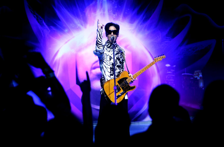 Image: Prince performs at the Nokia Theatre in Los Angeles on March 28, 2009.