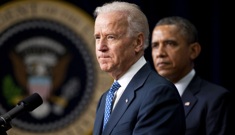 Image: Vice President Joe Biden speaks before President Barack Obama signs an executive order to reduce gun violence in Washington on Jan. 16, 2013.