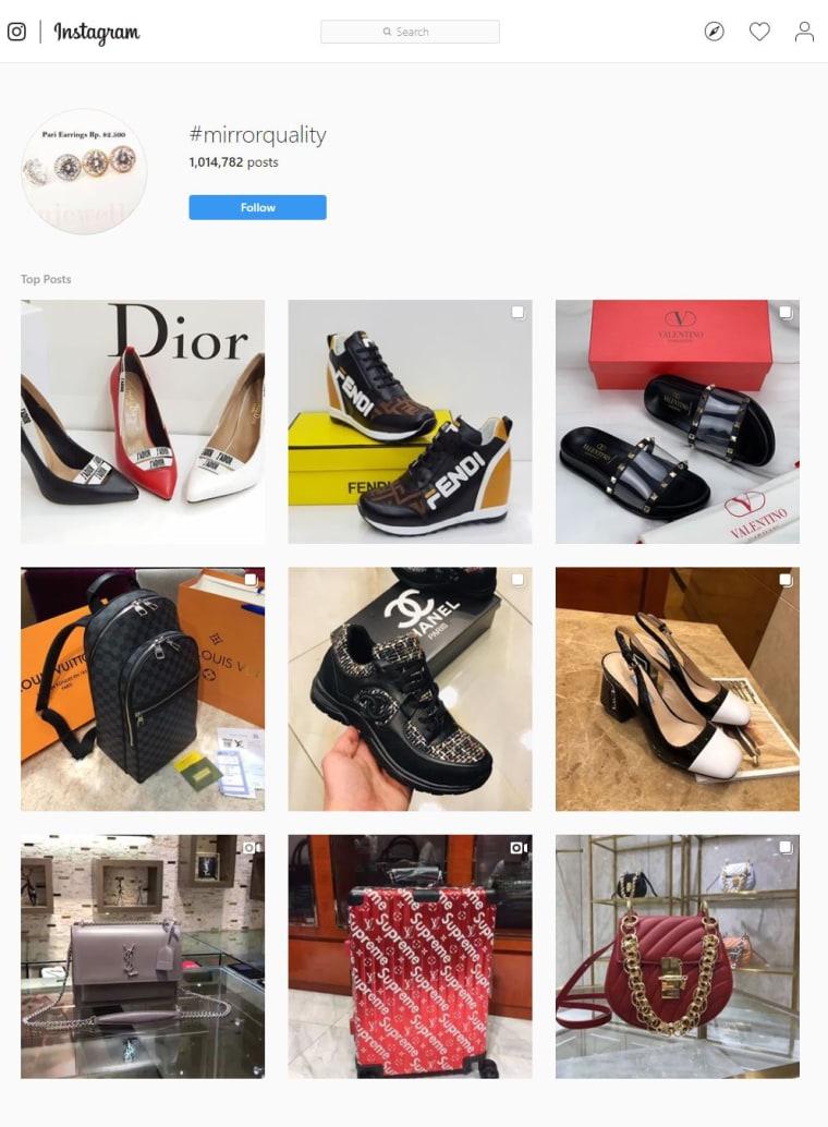 """Imagen: Una página de búsqueda para el hashtag """"mirrorquality"""" en Instagram."""