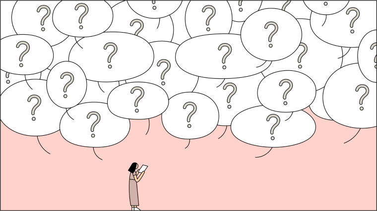 Illustration of woman holding paper with a speech bubbles of question marks above her.