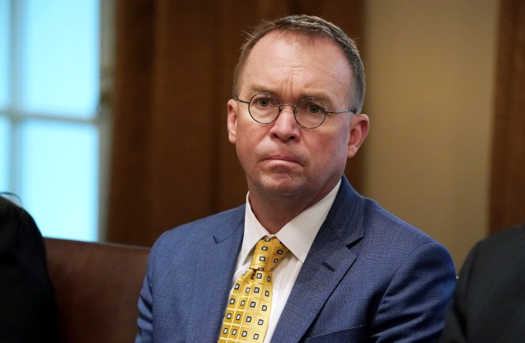 Image: Acting White House Chief of Staff Mick Mulvaney attends a meeting in the Cabinet Room at the White House on April 2, 2019.
