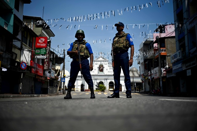 Image: Security personnel stand guard near St. Anthony's Shrine three days after a series of bombs killed over 300 people in Sri Lanka on April 24, 2019.