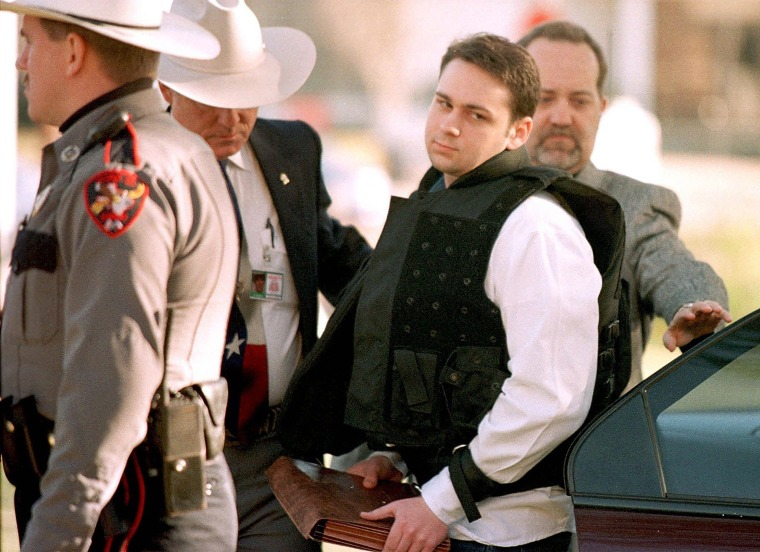 Image: John William King is escorted into the Jasper County Courthouse for his murder trial in Texas on Feb. 24, 1999.