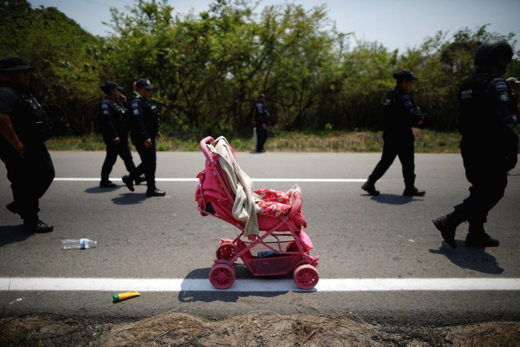 Image: A stroller abandoned by migrants after an immigration raid in Pijijiapan, Mexico, on April 22, 2019.