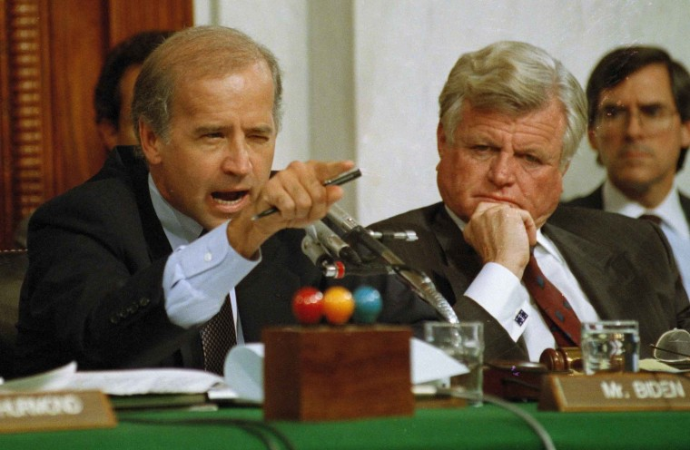 Image: Senate Judiciary Committee Chairman Joe Biden, D-Del., points angrily at Clarence Thomas during comments at the end of hearings on Thomas' nomination to the Supreme Court