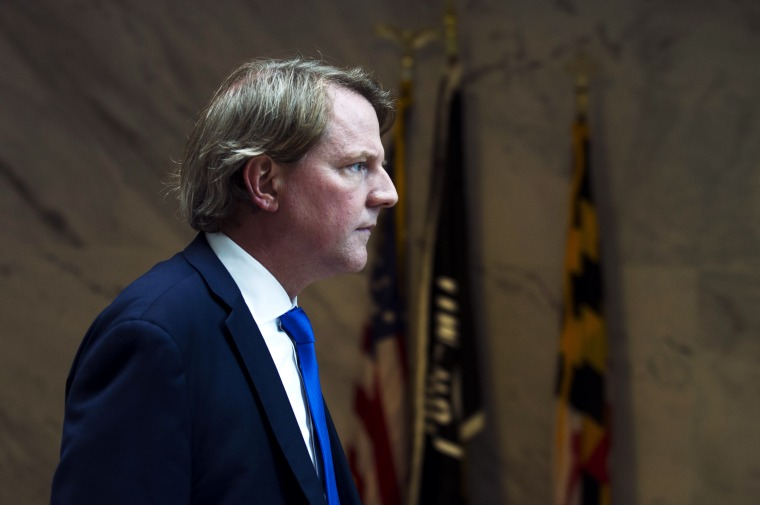 Image: White House counsel Don McGahn on Capitol Hill in Washington on Aug. 21, 2018.